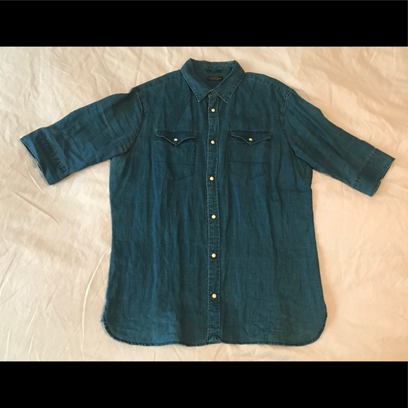 688b466246a All Saints Other - All Saints Denim Western Linen Shirt sz Medium